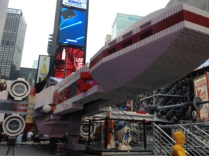 Life-size Star War X-Wing fighter on display in Times Square