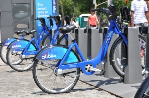 A Citibike awaits its next customer.