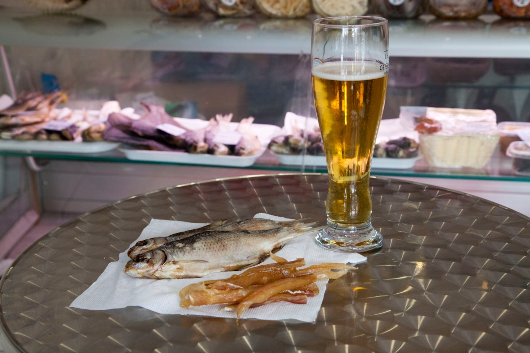 Classic Russian snack food-Beer and Dried Fish